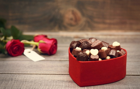 Picture love, flowers, holiday, heart, chocolate, roses, bouquet, candy, red, love, rose, photography, heart, photo, flowers, ...