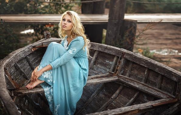 Picture girl, boat, dress, blonde, Alisa Tarasenko