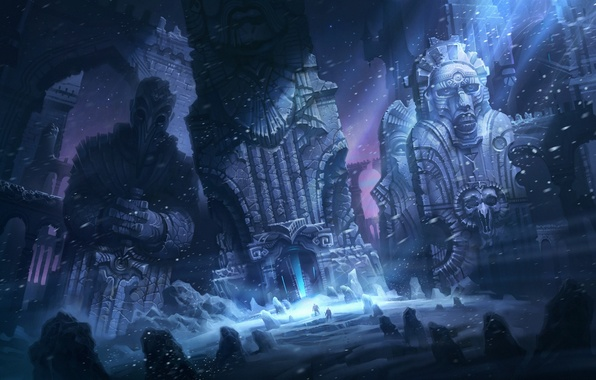 Picture snow, night, stones, people, ruins, Blizzard, HP Lovecraft, illustration to the book, SRAM, Mountains Of …