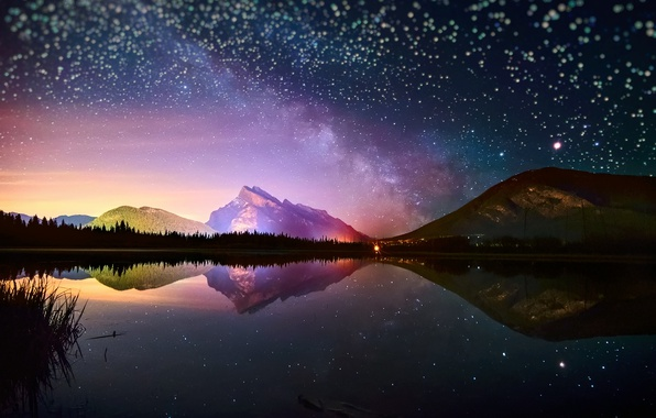 Picture the sky, stars, light, reflection, mountains, night, lake, mountain, the milky way, bokeh
