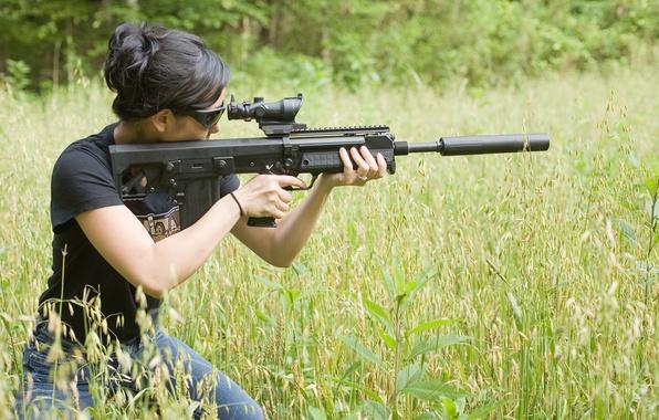 Photo wallpaper sniper, grass, girl, rifle