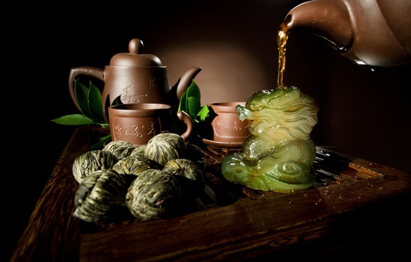 Picture leaves, tea, dragon, kettle, Cup, dishes, welding, teapot, Chinese, knitted