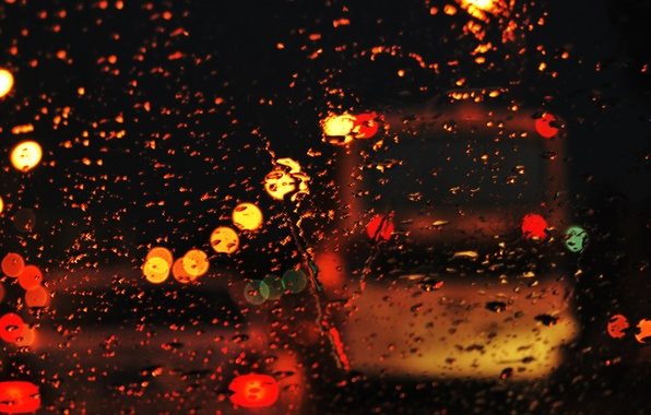 Picture road, glass, water, drops, the city, lights, rain, mood, street, the evening, bokeh