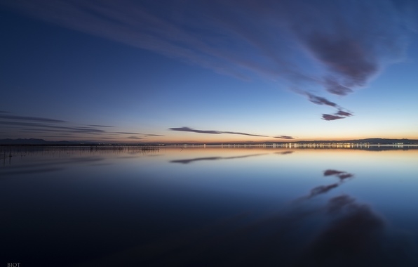 Picture the sky, water, clouds, reflection, the city, lights, shore, the evening, Spain, Valencia, Gavines (Les), …