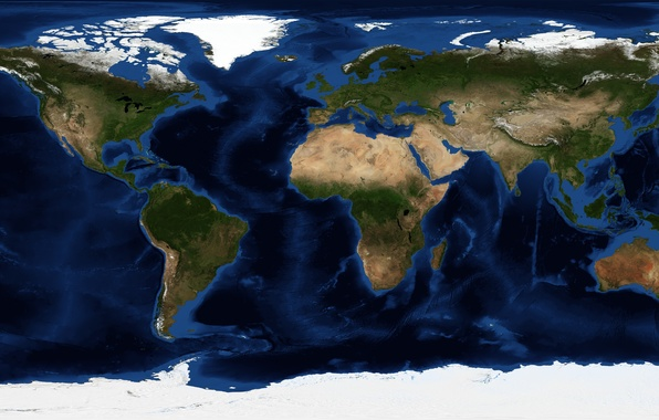 Picture planet, map, Earth, continents, oceans