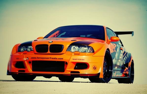 Picture car, machine, auto, bmw, BMW, orange, e46