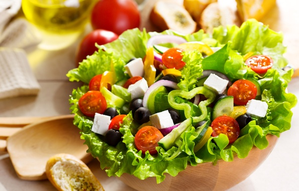 Picture leaves, oil, food, cheese, plate, bread, pepper, vegetables, tomatoes, cucumbers, salad, olives, baton, Greek