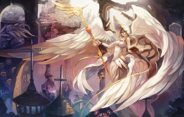 Picture girl, fiction, wings, angel, art, staff
