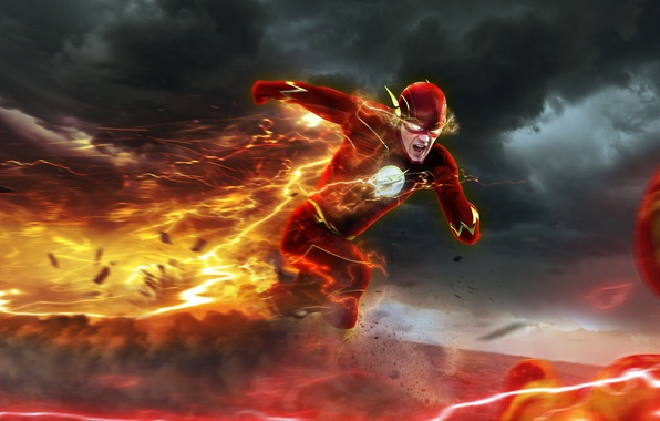Picture chase, art, flash, The Flash, Barry Allen, Reverse-Flash, Professor Zoom, Eobard Thawne