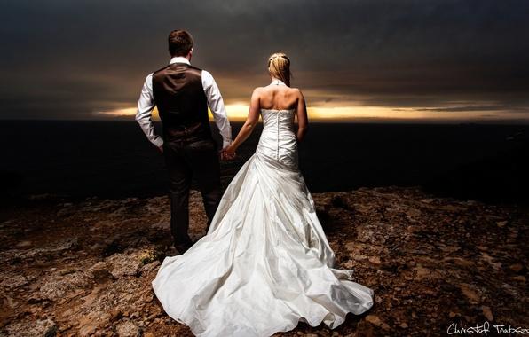 Picture girl, love, mood, woman, feelings, pair, male, guy, the bride, the groom, wedding dress