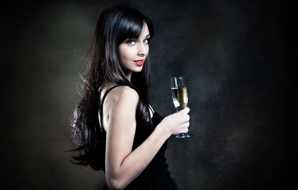 Picture girl, glass, champagne