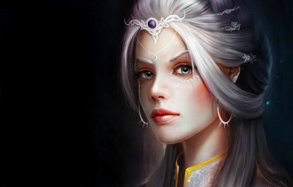 Picture look, girl, decoration, face, background, art, hairstyle, fantasy