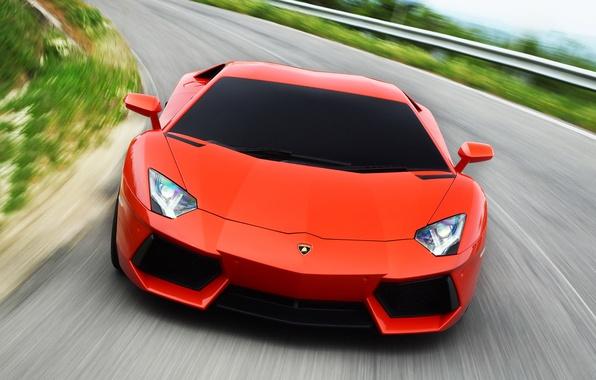 Picture road, background, lights, Lamborghini, beauty, Aventador LP700-4