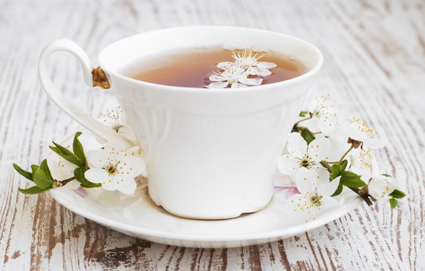 Picture sprig, tea, flowers, leaves