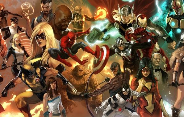 Picture spider-man, collage, x-men, comics, Superman, iron man, marvel, captain America, spider-man, superheroes, iron man, fantastic …