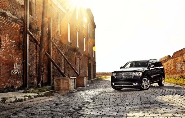 Picture auto, sunset, black, Dodge Durango