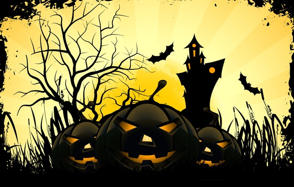 Picture smile, castle, tree, holiday, the moon, Halloween, Halloween, mouse, smile, holiday, mouse, horror stories, the …