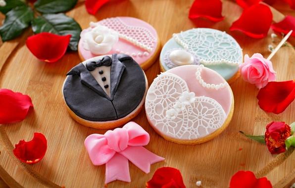 Picture flower, holiday, rose, food, petals, cookies, rose, flower, dessert, wedding, sweet, holiday, dessert, petals, wedding, …