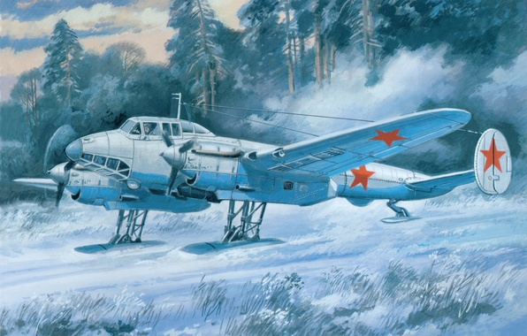 Picture winter, field, snow, the plane, figure, art, bomber, Soviet, dive, WWII, PE - 2 UM, …