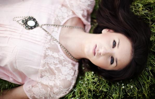 Picture grass, look, girl, brunette, pendant, lies
