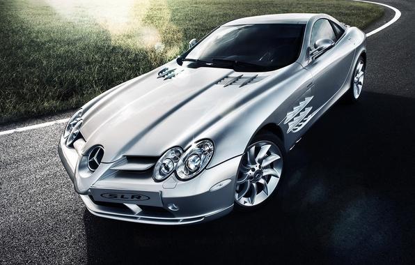 Picture Mercedes-Benz, SLR, silver, Blik, Mercedes Benz, silvery, Tomirri photography