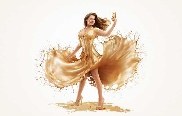 Picture Kelly Brook, Gold, HTC One M9, AurumLight