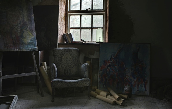 Picture chair, window, pictures
