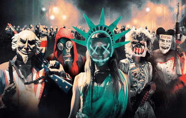 Picture night, lights, weapons, people, fiction, mask, Thriller, action, poster, horror, The Purge: Election Year, The …