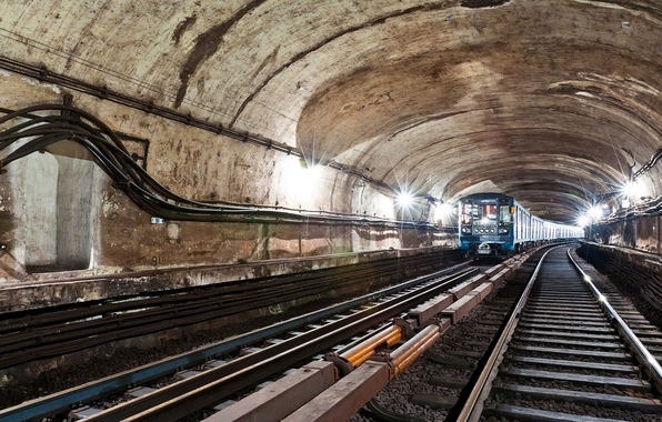 Picture metro, rails, sleepers, tunnel, subway, WIRE, LIGHT, LAMP, CABLE, Arch, TRAIN, LIGHTS