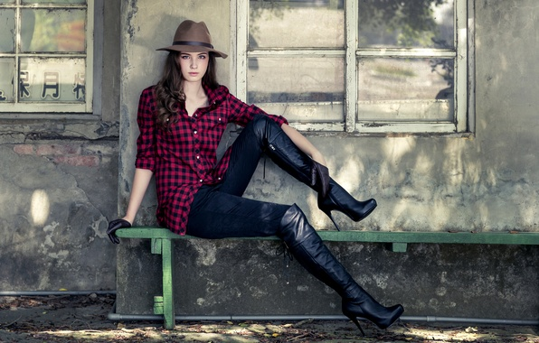 Picture bench, pose, style, feet, model, hat, boots