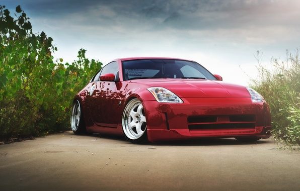 Picture red, before, red, Nissan, Nissan, 350Z, stance