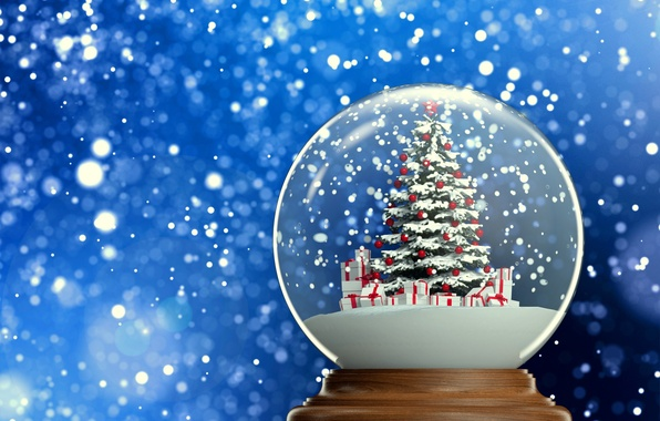 Picture background, new year, gifts, tree, herringbone, snow, snow globe, 2015