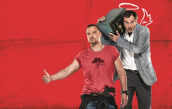 Photo wallpaper red, background, angel, safety Deposit box, B/W, Comedy, Merab Ninidze, Alexei Chadov, Merab Ninidze