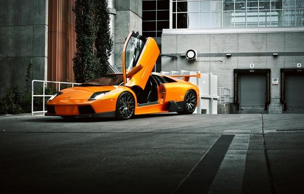 Picture the building, orange, Lamborghini, Lamborghini, Murcielago, front, orange, Lamborghini, open door, murciélago