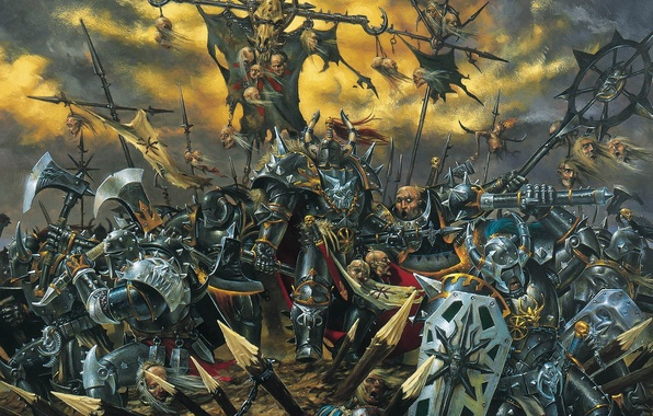 Picture death, Chaos, battle, axe, Warhammer, palisade, haosity, Mark of Chaos, shields, Mace
