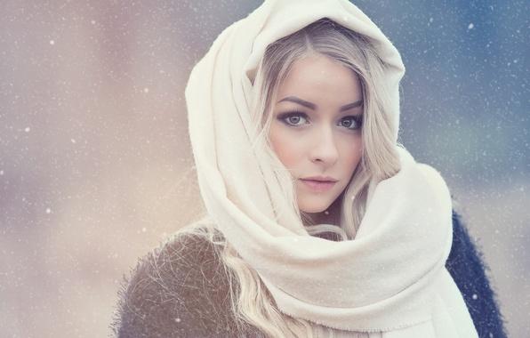 Picture winter, eyes, look, girl, portrait, blonde, shawl