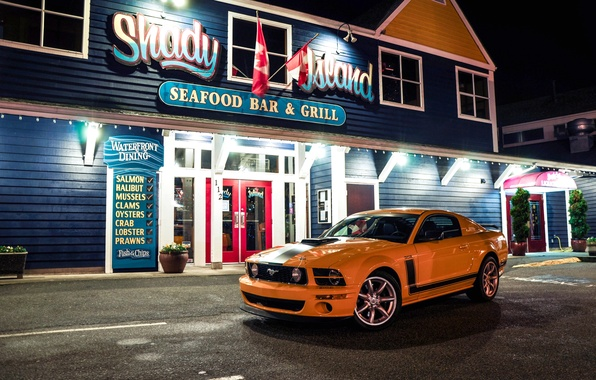 Picture lights, yellow, the building, Mustang, Ford, Ford, Mustang, sign, front view, yellow, Saline, Saleen Parnelli …