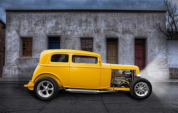 Picture yellow, retro, street, classic, hot-rod, classic car