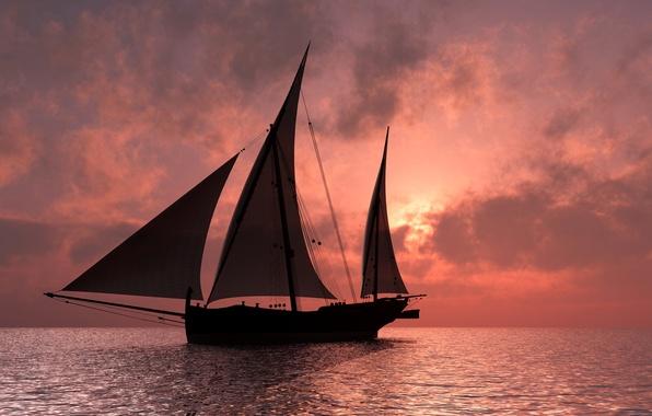 Photo wallpaper sea, the sky, clouds, ship, horizon, glow, sails