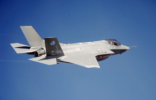Picture the sky, pilot, the plane, fighter-bomber, F-35