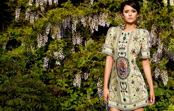 Picture greens, girl, decoration, nature, stones, earrings, dress, actress, brunette, Nina Dobrev, Nina Dobrev, The Vampire ...