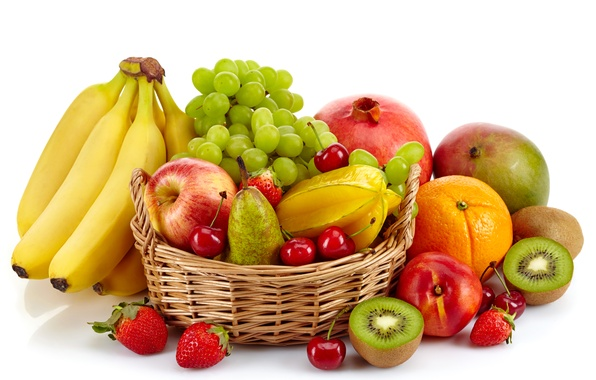 Picture cherry, berries, basket, apples, orange, kiwi, strawberry, grapes, bananas, white background, pear, fruit, garnet