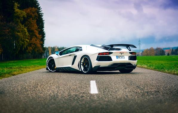 Picture road, the sky, tuning, Lamborghini, white, Aventador