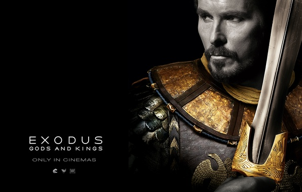 Photo wallpaper sword, armor, black background, Christian Bale, Christian Bale, Moses, Exodus: Gods and Kings, Moses, Exodus: ...