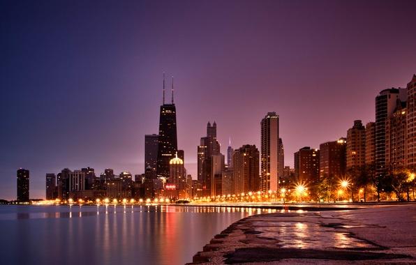 Picture the city, shore, skyscrapers, Chicago, skyscrapers, Illinois