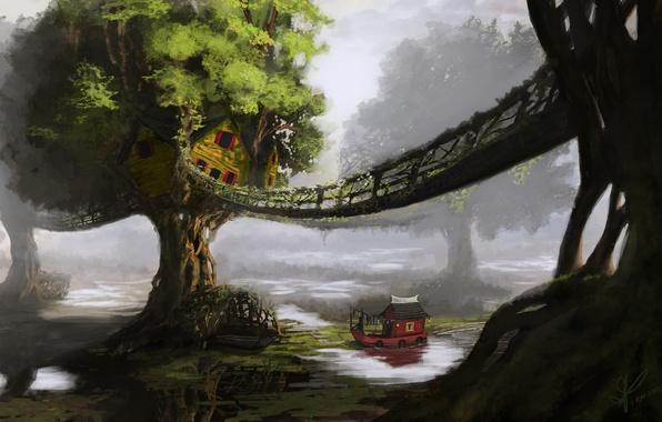 Picture trees, landscape, bridge, river, ship, home, art, hut, boat