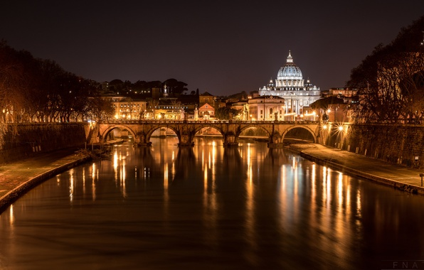 Picture night, bridge, lights, river, Rome, Italy, The Tiber, St. Peter's Cathedral