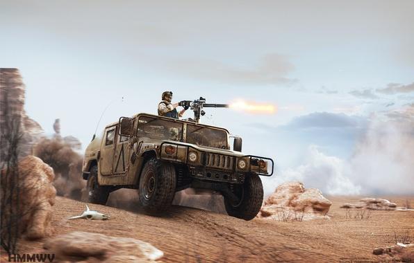 Picture desert, skull, hammer, Hummer, minigun, minigun, Textures and Visualisation bu Alex Iartsev, American madness, Humvee, …