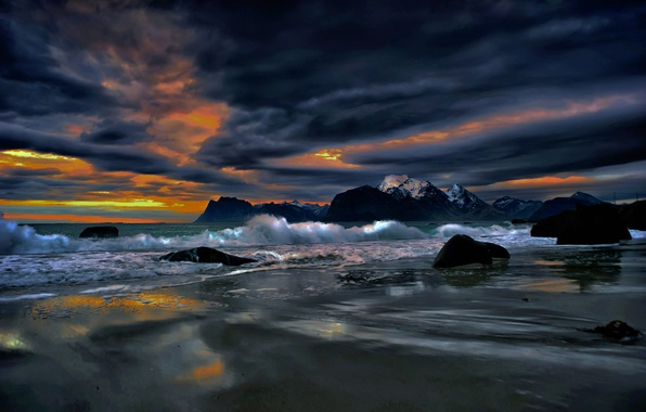 Picture sea, clouds, landscape, clouds, stones, rocks, shore, the evening, Norway, glow, The Lofoten Islands