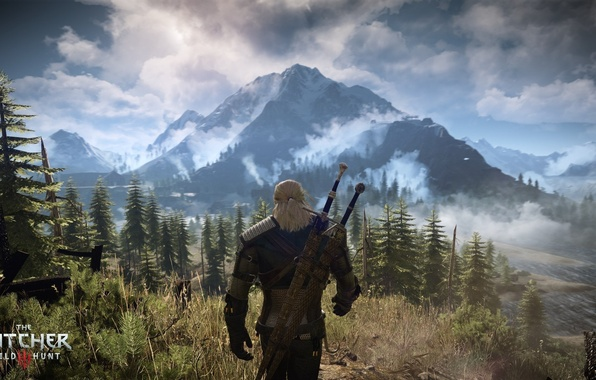 Picture forest, mountains, the game, the Witcher, beauty, Geralt of Rivia, The Witcher 3: Wild Hunt, …